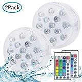 Unterwasser Licht, Kolpop LED Teichbeleuchtung mit Fernbedienung, Batteriebetriebenes 16 RGB Farbwechsel IP68 Wasserdichtes Licht für Schwimmbad/Teich / Badezimmer/Spa & Whirlpool