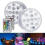 Unterwasser Licht, Zorara 2 Stück LED Poolbeleuchtung mit IR Fernbedienung 13 LEDs IP68 Wasserdichte, Unterwasserlicht RGB Multi Farbwechsel Poollicht für Schwimmbad Vase Aquarium Festival Dekoration