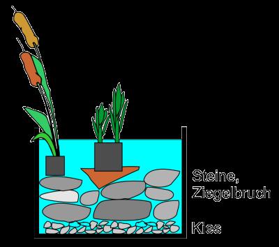 Aufbau einer Schichtung im Miniteich mit Steinen
